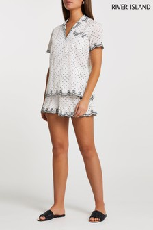 River Island Cream Embroidered Dobby Shorts