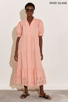 River Island Coral Tiered Maxi Dress