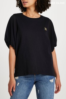 River Island Black Woven Sleeve Batwing Top
