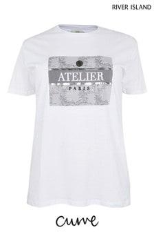 River Island White Atelier Jungle Box T-Shirt
