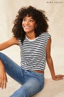 Mint Velvet Striped Shoulder Pad T-Shirt