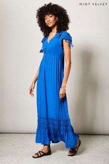 Mint Velvet Blue Ruffled Maxi Sun Dress