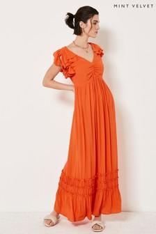 Mint Velvet Orange Ruffled Maxi Sun Dress