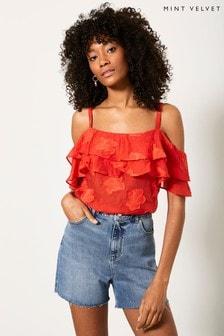 Mint Velvet Red Floral Cold Shoulder Top