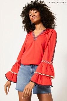 Mint Velvet Red Embroidered V-Neck Blouse