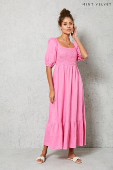 Mint Velvet Pink Puff Sleeve Midi Dress