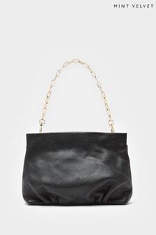 Mint Velvet Tori Black Leather Clutch Bag
