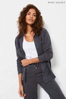 Mint Velvet Grey Long Sleeve Utility Shirt