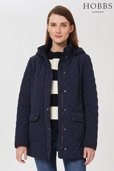 Hobbs Blue Audra Hooded Coat