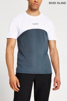 River Island Grey Slim Paris Curve Blocking T-Shirt