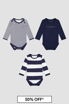 Tommy Hilfiger Baby Boys Navy Bodysuits 3 Pack