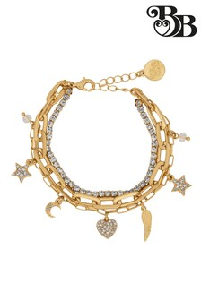 Bibi Bijoux Gold Star & Hearts Triple Row Bracelet