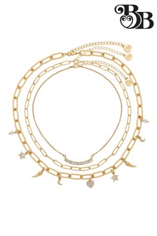 Bibi Bijoux Gold Star & Hearts Triple Row Necklace Set