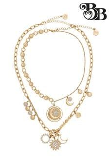 Bibi Bijoux Gold Sun & Moon Double Row Necklace