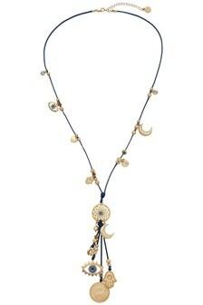 Bibi Bijoux Navy Cord Spiritual Charm Necklace
