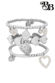 Bibi Bijoux Heart Bracelet Set In Silver & White Enamel