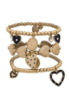 Bibi Bijoux Heart Bracelet Set In Gold With Montana Stones