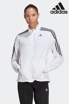 adidas White Marathon 3-Stripes Jacket