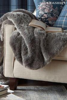 Silver Exmore Faux Fur Throw