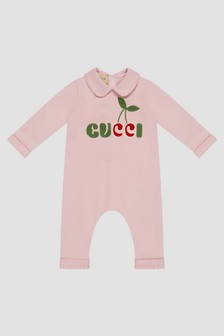GUCCI Kids Baby Pink Sleepsuit