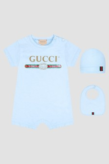 GUCCI Kids Baby Blue Rompersuit