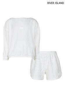 River Island White Embossed Towelling Set