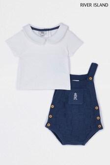 Blue Knit Dungaree Babygrow Set