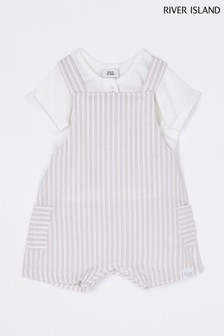 River Island Beige Stripe Dungarees And T-Shirt Set