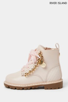 River Island Pink Chain Trim Lace Up Boots