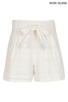 River Island White Broderie Shorts