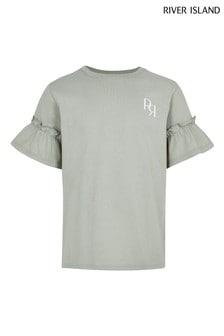 River Island Khaki RR Slogan MB Ruffle Sleeve T-Shirt