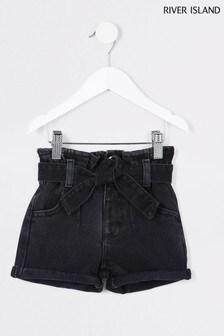 River Island Black Washed Paperbag Shorts