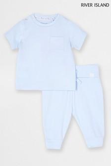 Blue Light Deep Variegated Rib T-Shirt And Leggings Set