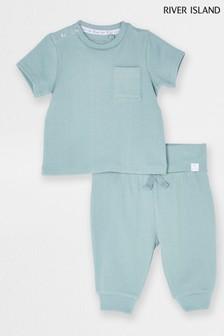 River Island US Deep Variegated Rib T-Shirt And Trousers Set