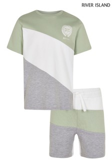 River Island Green Light Blocked T-Shirt and Short Set