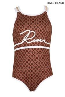 River Island Brown Twinning Monogram Swimsuit
