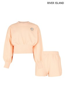 River Island Coral Texture Sweater And Shorts Set
