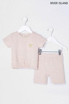 River Island Beige Light MG Monogram T-Shirt And Shorts Set