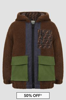 Fendi Kids Boys Brown Jacket
