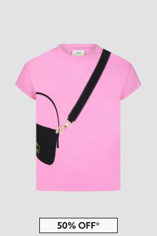 Fendi Kids Girls Pink T-Shirt