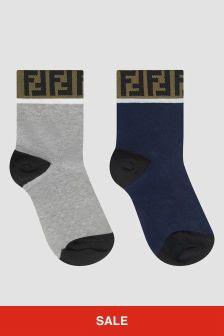 Fendi Kids Boys Blue/Grey Socks 2 Pack