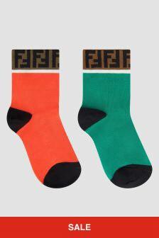 Fendi Kids Boys Orange Socks