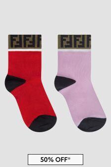 Fendi Kids Girls Red Socks