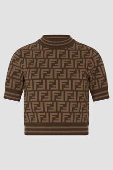Fendi Kids Brown T-Shirt