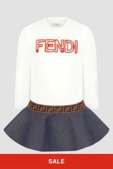 Fendi Kids Girls White Dress