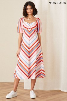 Monsoon Chevron Print Sweetheart Neck Dress