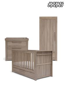 3 Piece Mamas & Papas Franklin Cot Bed Range with Dresser and Single Wardrobe