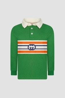 GUCCI Kids Baby Boys Green Polo Shirt