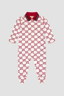 GUCCI Kids Baby White Sleepsuit