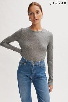 Jigsaw Grey Wool Jersey Crew Neck T-Shirt